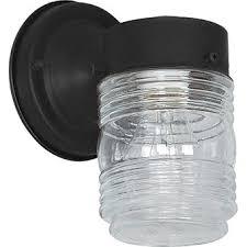 jelly jar light fixture sunset lighting f4600 31 one light outdoor wall mount black finish