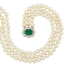pearl necklace with diamond images Triple strand cultured pearl necklace with emerald and diamond jpg
