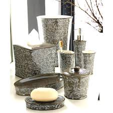 Silver Bathroom Accessories Sets by Crackle Glass Bathroom Accessories Silver Sparkle Mirror Accessory