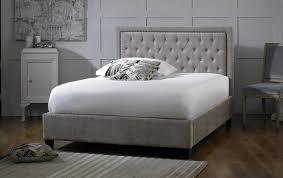 5ft Bed Frame Limelight Rhea 5ft Kingsize Mink Velvet Fabric Bed Frame By