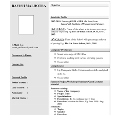 interview resume format for freshers resume for freshers fungram co