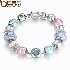murano beads bracelet images Aliexpress 925 silver heart start crystals love colorful girl jpg