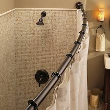 moen adjustable curved old world bronze shower rod bed bath