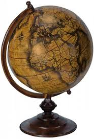 large brown world map globe sculpture ornament mulberry moon