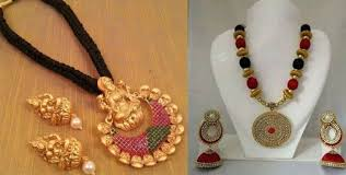 black gold necklace jewelry images Latest short black thread gold necklace designs dressed to excite jpg