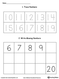 trace and write missing numbers 10 through 20 myteachingstation com