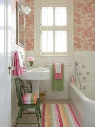 small country bathroom decorating ideas purple floral pattern sliding curtains covering bathtubs area