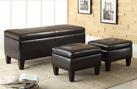 Leather Top Ottoman Leather Upholstered Coffee Table Wood Storage Ottoman Bench Table