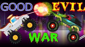 monster truck childrens video good vs evil scary monster trucks for children street vehicles