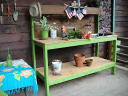 potting bench alternative decor with green wooden frames and