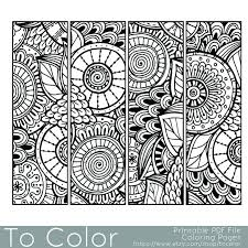 printable pattern coloring page bookmarks pdf jpg instant