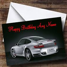 silver porsche silver porsche turbo personalised birthday card the card zoo