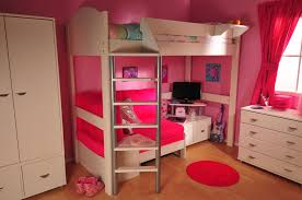 furniture pink bunk bed with desk also bookshelves and chair on