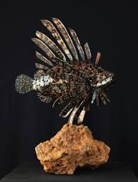 metal lion sculpture sculpture metal lion fish swimming steel statue by