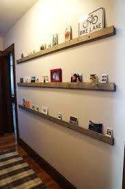 narrow wall shelf with lip