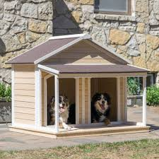 Petmate Indigo Duplex Dog House Outdoor Large Wood Shelter Roomy Double Kennel