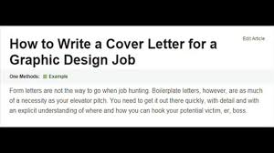 hw to write a cover letter how to write a cover letter for a graphic design job video
