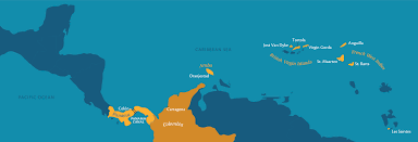 Caribbean Ocean Map by Voyage Search Paul Gauguin Cruises