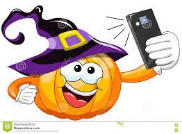 cartoon halloween pumpkin selfie smartphone stock vector image