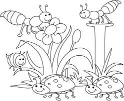 spring coloring pages lady bugs and flowers bees truly hand picked