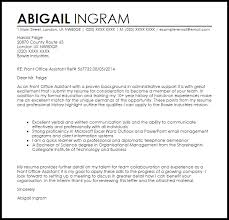 front office assistant cover letter sample livecareer