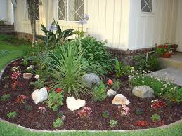 layout for semi circle bed focal point and use rocks gardening