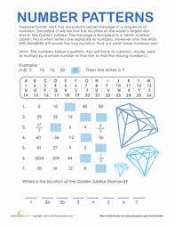 pattern and numbers number patterns treasure hunt worksheet education com
