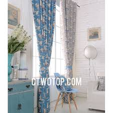 Nautical Curtain Fabric Living Room Blue And Gray Sailboat Fabric Half Price Nautical Curtains