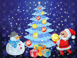 christmas tree with gifts santa claus and snowman on blue snowing