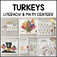 turkey literacy math centers modern preschool