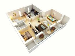 modern bungalow floor plan 3d small 3 bedroom floor plans house