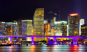 Colorful City Night View Of Colorful City Of Miami In Florida 51711868