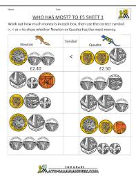 uk money worksheets to 5