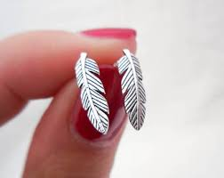 feather stud earrings feather studs etsy