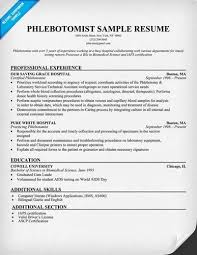 Medical Resume Objective Resume Example 2016 Phlebotomy Resume Examples Phlebotomy Resume