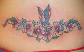 butterfly n flowers design on lower back photos pictures