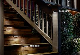 deck stairs illuminated with deck lights