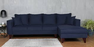 navy blue floor l buy lara lhs three seater sofa with lounger and cushions in navy
