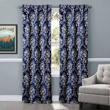 blue elegant elegant floral window treatments with white seat on