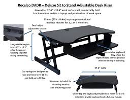 Sit To Stand Desks by Rocelco Dadr Deluxe Adjustable Height Sit To Stand Desk Riser