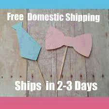 24 bow tie and bow cupcake toppers gender reveal party baby