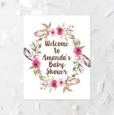 custom name floral welcome baby shower sign printable bohemian