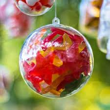x5 baubles christmas decorations 120mm fillable empty clear