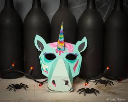 printable zombie unicorn paper mask creepy cute halloween or