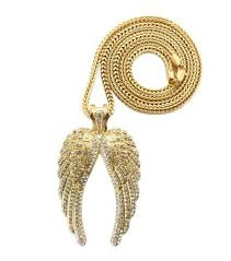 angel wings gold necklace images Hip hop angel wings diamond cz pendant w franco chain gold jpg