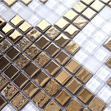 Gold And Cream Plating Glass Mosaic Tile Murals Frosted Crystal - Gold backsplash