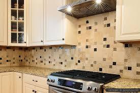 travertine backsplash glass tile insert beige cabinet backsplash
