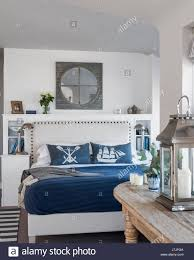 nautical headboard nautical themed penthouse bedroom the upholstered headboard is by