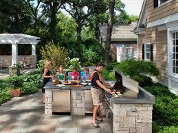 inexpensive outdoor kitchen ideas outdoor kitchen against house kitchen decor design ideas