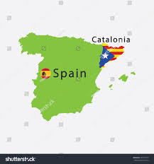 Texas Under Spain Flag Map Catalonia Spain Flag Vector Illustration Stock Vector